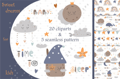 Sweet dreams for kids. Nursery collection.