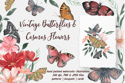 Vintage Butterflies and Cosmos Flowers Watercolor Collection