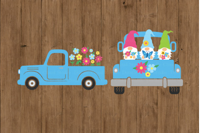 Truck SVG, Spring Flowers Truck SVG Cut Files, Spring Truck with Gnome
