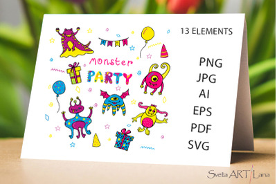 Monsters Party EPS PNG