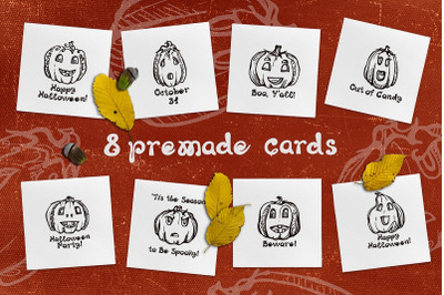 8 Halloween cards with jack-o-lanterns