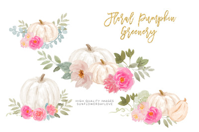 Pink and White Pumpkins Clipart, Autumn Fall PNG Pumpkins