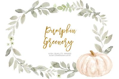 Fall White Pumpkin Clip art, White Greenery Pumpkin clip art