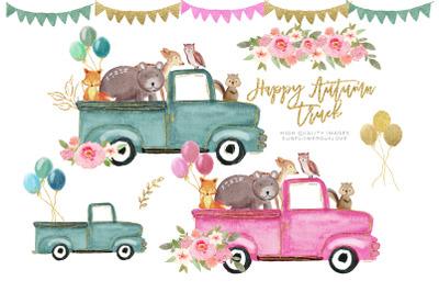 Woodland clipart, Pink truck clipart, Green truck clipart