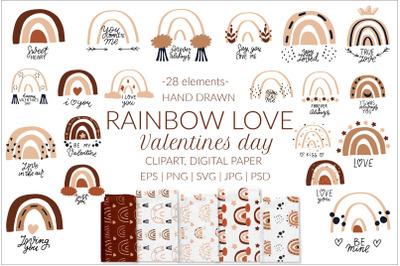 Boho rainbow svg bundle. Valentines day svg, love clipart
