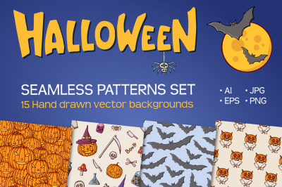 15 seamless Halloween vector patterns