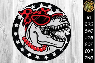 Mamasaurus with Bandana and Sunglasses SVG Clip Art