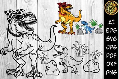 Mamasaurus and Little Dino Funny Dinosaur SVG Clip Art