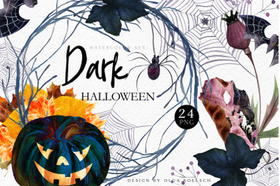 Halloween pumpkin clipart Spooky autumn clipart with spider, bat