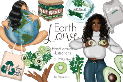 Earth Love Clipart & Pattern