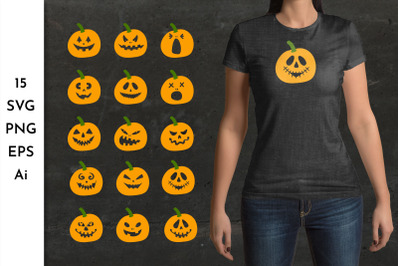 Pumpkin faces PNG. Pumpkin faces SVG. Halloween faces. Spooky SVG. Jac