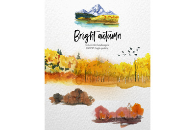Autumn landscape watercolor clipart