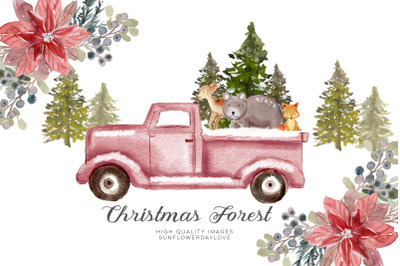 WOODLAND Christmas clipart, Woodland Forest, Christmas Mountain