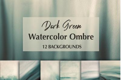 12 Dark Green Watercolor Ombre Backgrounds