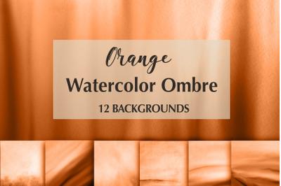 12 Orange Watercolor Ombre Backgrounds