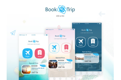 BookMyTrip - Sketch Mobile UI Kit Traveling