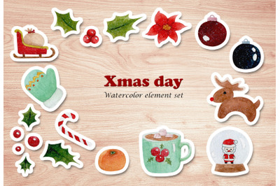 watercolor elements set of Christmas