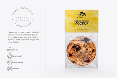 Transparent Cookie Pouch Packaging Mockup