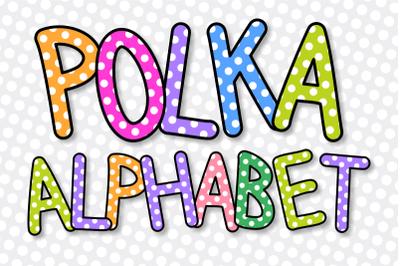 Retro Polka Dot Alphabet Clipart Lettering