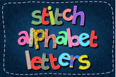Alphabet Stitch Fabric Clipart Letters