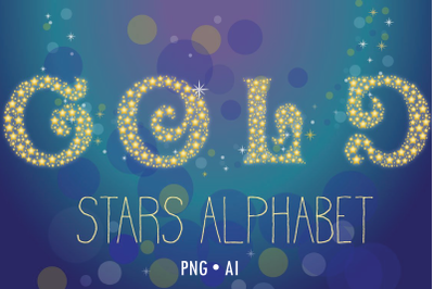 Gold stars vector alphabet, 36 letters and numbers