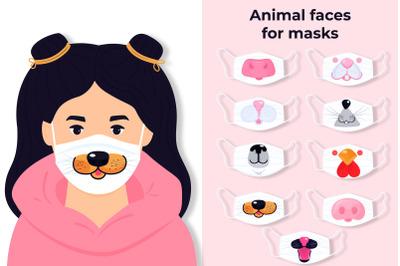 Animal Faces for Masks SVG