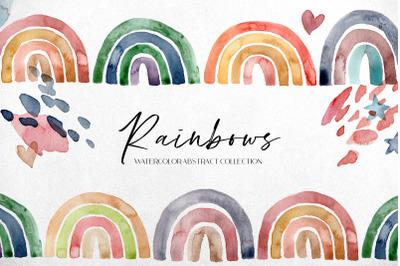Rainbows. Watercolor abstract kit
