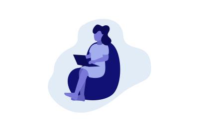 Flat Illustration Woman Sitting at Home