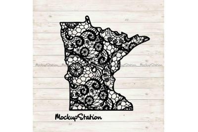 Minnesota State Mandala SVG, MN Floral Lace Decor DXF