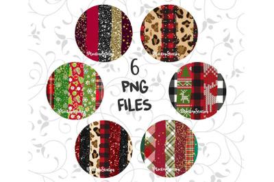 Christmas Sublimation Circle Frame Background PNG Bundle