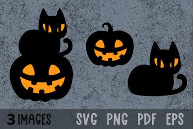 Black cat svg Halloween cat svg Halloween pumpkin svg cut files