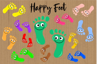 Happy Feet Cartoon Foot Print Clipart
