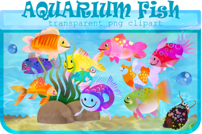 Watercolor Ink Aquarium Fish Tank Clipart