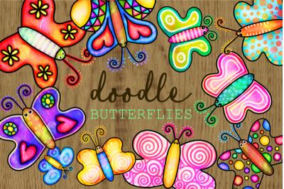 Hand Drawn Doodle Watercolor Butterflies