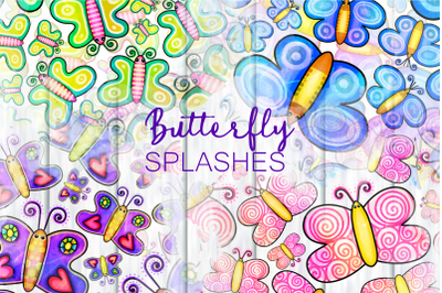 Shabby Chic Doodle Butterfly Splashes