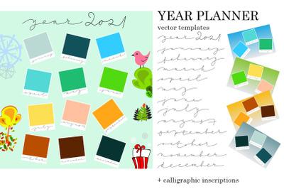 Year 2021 calendar blank template
