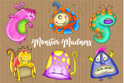 Monster Madness Funny Critter Clipart Set 2