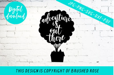 Adventure is out there svg, balloon house cut file