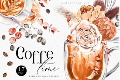Printable coffee flower clipart Watercolor coffee clip art Cappuccino