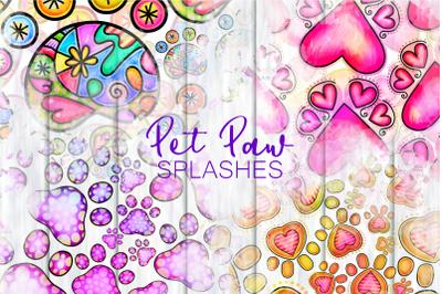 Shabby Chic Doodle Pet Paw Print Splashes
