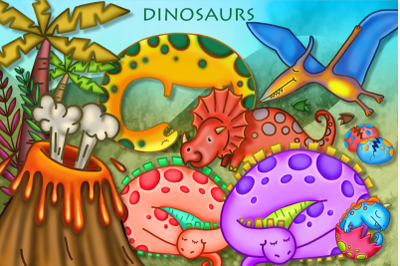 Hand Drawn Dinosaur Scene Making Clipart