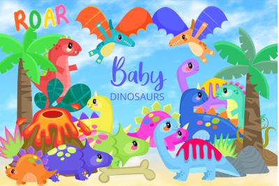 Baby Dinosaurs Cute Cartoon Reptiles