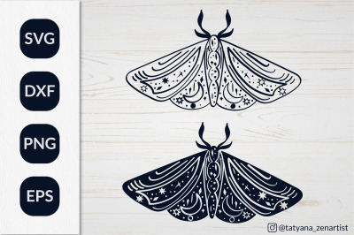 Silhouette Luna moth SVG for kids design. Magic Linear Butterfly SVG