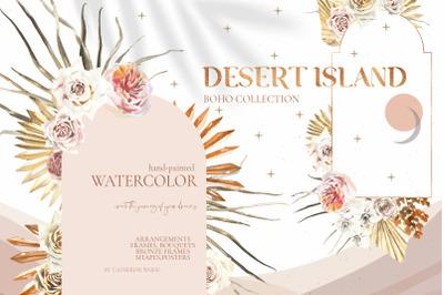 Desert Island Watercolor Boho Dried flowers