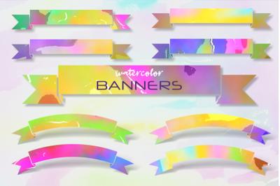Watercolor Ribbon Banner Wash Borders