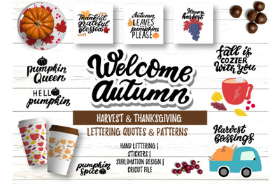 Autumn bundle. Harvest, Thanksgiving fall hand lettering quotes, clipa