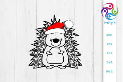 Zentangle Hedgehog with Santa Hat Svg File