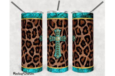 Leopard 20oz Skinny Tumbler Design Sublimation PNG