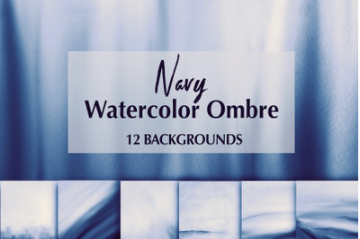 12 Navy Watercolor Ombre Backgrounds