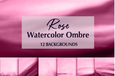 12 Watercolor Rose Ombre Backgrounds